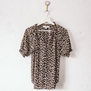 LOFT Short Sleeve Leopard Print Blouse